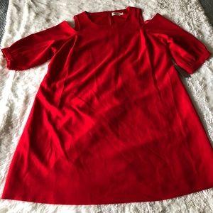 Eliza J Shift Dress Size 22W Red Cold Shoulder